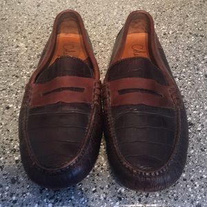 Cole Haan leather penny loafers Alligator print 10